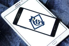Tampa Bay Rays baseball team logo. Logo of Tampa Bay Rays team on samsung mobile. The Tampa Bay Rays are an American professional baseball Royalty Free Stock Image