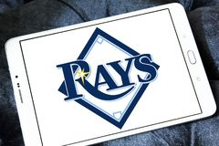 Tampa Bay Rays baseball team logo. Logo of Tampa Bay Rays team on samsung tablet. The Tampa Bay Rays are an American professional baseball Stock Photos