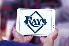 Tampa Bay Rays baseball team logo. Logo of Tampa Bay Rays team on samsung tablet. The Tampa Bay Rays are an American professional baseball Royalty Free Stock Photos