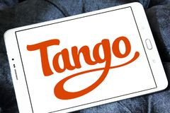 Tango application logo. Logo of Tango application on samsung tablet. Tango is a third-party cross platform messaging application software for smartphones Royalty Free Stock Photos