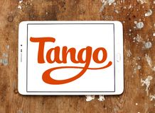 Tango application logo. Logo of Tango application on samsung tablet. Tango is a third-party cross platform messaging application software for smartphones Stock Image