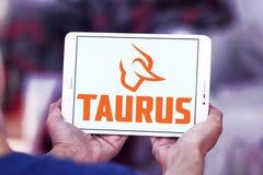 Taurus firearms manufacturer logo. Logo of Taurus firearms manufacturer on samsung tablet. Forjas Taurus manufacturing firearms, metals manufacturing, plastics Royalty Free Stock Photography