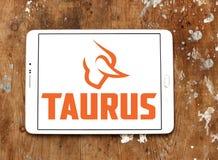 Taurus firearms manufacturer logo. Logo of Taurus firearms manufacturer on samsung tablet. Forjas Taurus manufacturing firearms, metals manufacturing, plastics Stock Images