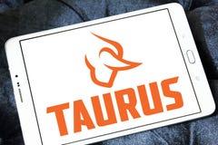 Taurus firearms manufacturer logo. Logo of Taurus firearms manufacturer on samsung tablet. Forjas Taurus manufacturing firearms, metals manufacturing, plastics Stock Image