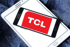 TCL Corporation logo. Logo of TCL Corporation on samsung mobile. TCL is a Chinese multinational electronics company Stock Photography