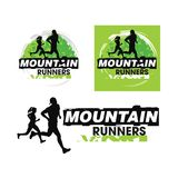 Logo team of mountain runners, sports team. Technology, science, entertainment or other company that is identified with its shape, design and layout of royalty free illustration