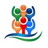 Logo teamwork hug friendship unity business colorful people icon logotype vector. Happy social media people icon vector logo teamwork hugs friendship unity Royalty Free Stock Image