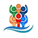 Logo teamwork hug friendship unity business people icon logotype vector. Happy social media people icon vector logo teamwork hug friendship unity business Stock Image