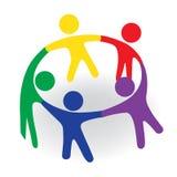 Logo teamwork hug friendship unity meeting business colorful people icon logotype vector. Logo group of teamwork people in a meeting symbol vector image Royalty Free Stock Photos