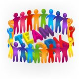 Logo teamwork meeting friendship unity business colorful people icon logotype vector Stock Photos