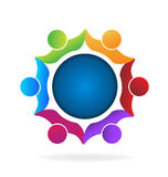 Logo teamwork people. Teamwork people around world icon logo vector image Stock Photos