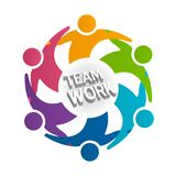 Logo teamwork people in a hug icon around text vector illustration design id card image Royalty Free Stock Image