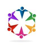 Logo teamwork people. Teamwork people origami style icon logo vector image Stock Photos