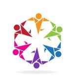 Logo teamwork people. Teamwork people origami style icon logo vector image Stock Photo