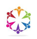 Logo teamwork people. Teamwork people origami style icon logo vector image Stock Photography