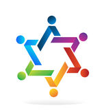 Logo teamwork star people. Teamwork star unity people social media icon logo vector image Royalty Free Stock Photo