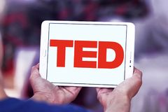 TED conference logo. Logo of TED conference on samsung tablet. TED Technology, Entertainment, Design is a media organization which posts talks online for free Stock Photo