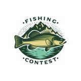 Logo Template Bass Fish con la montagna Fotografia Stock