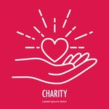 Logo template for charity. Heart in hand symbol line icon. Logo template for charity and donation, voluntary and non profit organization. Vector illustration Royalty Free Stock Photo