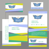 Logo and template corporate identity, banner for travel agency, air carrier. Demontstration of reliability Stock Image