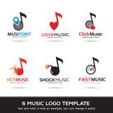 Logo Template Design Vector Logo, icône, signe ou symbole de musique Image libre de droits