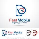 Logo Template Design Vector mobile rapide, emblème, concept de construction, symbole créatif, icône Image stock