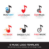 Logo Template Design Vector Musiklogo, symbol, tecken eller symbol Stock Illustrationer