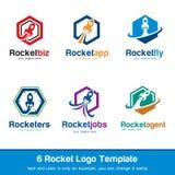 Logo Template Design Vector Rocket Logo, symbol, tecken eller symbol Royaltyfri Illustrationer