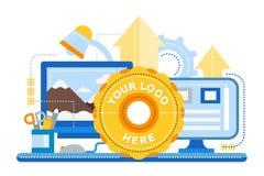 Logo Template, elaborazione di immagini - insegna piana del sito Web di progettazione Fotografia Stock Libera da Diritti