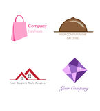 4 Logo Template Fashion Catering Real-Landgoedjuwelen Royalty-vrije Stock Foto