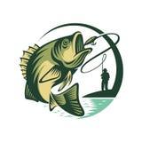 Logo Template Fish y pescador stock de ilustración