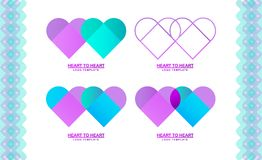 Logo template with a heart,. Two hearts, a linear logo, a fashionable gradient, a simple logo vector, from heart to heart. A set of logos for the fund, business Royalty Free Stock Images