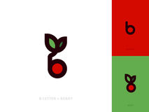 Logo template or icon of red berry with leaf and letter b Royalty Free Stock Photo