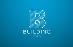 Logo template letter B  in the style of a technical drawing. sig. N design and the text `building` with dimension lines. Vector illustration Stock Photos