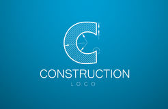 Logo template letter C  in the style of a technical drawing. Sign design and the text `construction` with dimension lines. Vector illustration Royalty Free Stock Image