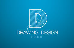 Logo template letter D  in the style of a technical drawing. Sign design and the text with dimension lines. Vector illustration Stock Photo