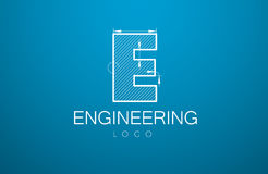 Logo template letter E. In the style of a technical drawing. sign design and the text `engineering` with dimension lines. Vector illustration Royalty Free Stock Image