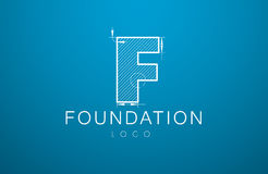 Logo template letter F  in the style of a technical drawing. Sign design and the text `foundation` with dimension lines. Vector illustration Stock Images