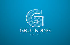 Logo template letter G  in the style of a technical drawing. Sign design and the text `grounding` with dimension lines. Vector illustration Royalty Free Stock Photos