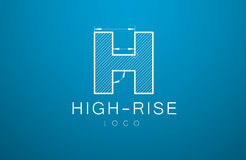 Logo template letter H  in the style of a technical drawing. Sign design and the text `high-rise` with dimension lines. Vector illustration Stock Images