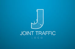 Logo template letter J  in the style of a technical drawing. Sign design and the text `joint  traffic` with dimension lines. Vector illustration Stock Photos