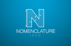 Logo template letter N  in the style of a technical drawing. Sign design and the text `nomenclature` with dimension lines. Vector illustration Royalty Free Stock Photos