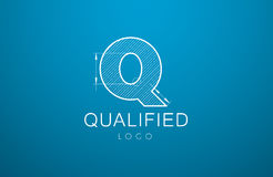 Logo template letter Q  in the style of a technical drawing. Sign design and the text `qualified` with dimension lines. Vector illustration Royalty Free Stock Image