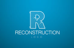 Logo template letter R in the style of a technical drawing. Sign design and the text `reconstruction` with the dimension lines for the building firms Stock Image