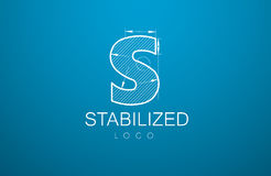 Logo template letter S in the style of a technical drawing. Sign design and the text `stabilized` with the dimension lines for the building firms, companies Stock Photography