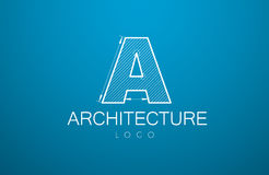 Logo template letter A  in the style of a technical drawing. Sign design and the text `architecture` with dimension lines. Vector illustration Stock Image