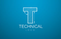 Logo template letter T in the style of a technical drawing. Logo Design letter T in the style of a technical drawing. sign template text and `technical` from Stock Image