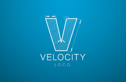 Logo template letter V  in the style of a technical drawing. Template Logo letter V  in the style of a technical drawing. sign design and the text `velocity` Royalty Free Stock Photography