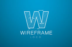 Logo template letter W  in the style of a technical drawing. Logo template letter W in the style of a technical drawing. sign design and the text `wireframe` Royalty Free Stock Photography