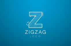 Logo template letters Z, zigzaz, in the style of a technical dra Royalty Free Stock Photo